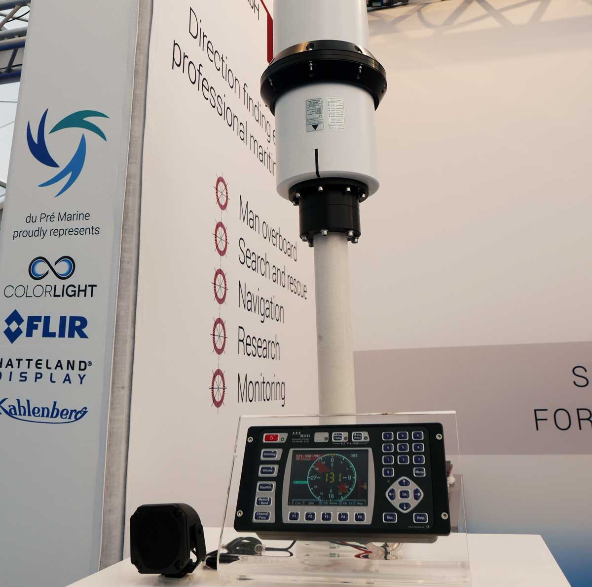 Rhotheta RT-500-M radio direction finder on the du Pre Marine stand at Seawork 2017
