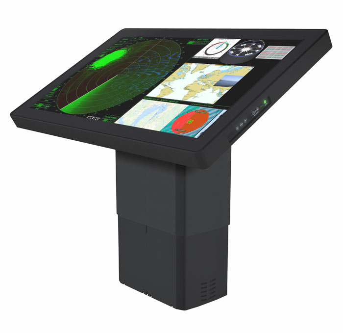 Hatteland 55in 4k UHD touch screen type approved screen on adjustable chart table pedestal